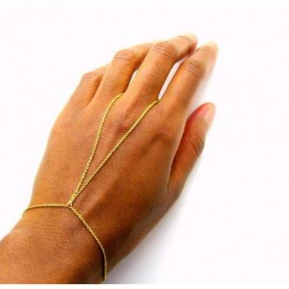 V Ring Bracelet, Gold or Silver