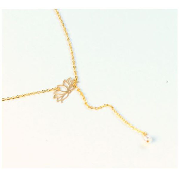 Pearl-fect Lotus Flower Lariat Necklac