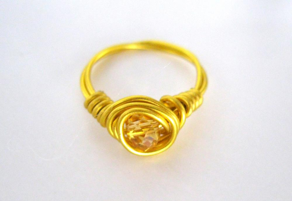 Customizable Gold Ring with Crystal Setting Pick your Crystal, Women