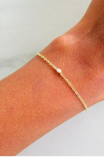 Bridesmaid Set of 5 Dainty Diamond Bracelets