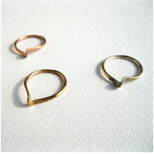 Set of 3 Twisted Hammered Rings,Brass, 14k Gold, Sterling Silver, Rose Gold